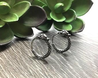 Dragon hoop earrings, hoop earrings, huggie earrings, huggie hoop, gothic jewelry, mens hoops, dragon earrings , snap closure hoops