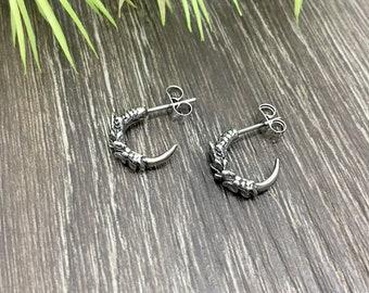 Dragon claw earrings, hoop earrings, huggie earrings, huggie hoop, dragon jewelry, dragon claw, dragon earrings, gothic jewelry