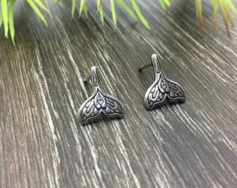 Mermaid tail earrings, mermaid studs, mermaid jewelry, stainless steel earrings, gothic jewelry, gothic earrings, fantasy jewelry