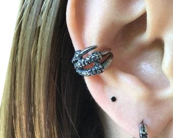 Dragon claw Ear cuff, gothic ear cuff, stainless steel earrings, ear cuff, gothic earrings, dragon jewelry, dragon claw earrings