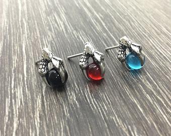 Dragon claw earrings, dragon claw studs, dragon claw jewelry, stainless steel earrings, gothic jewelry, orb jewelry, mystical jewelry