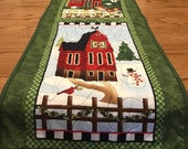 Country Quilt Barn Farm Cabin Camp Table Runner