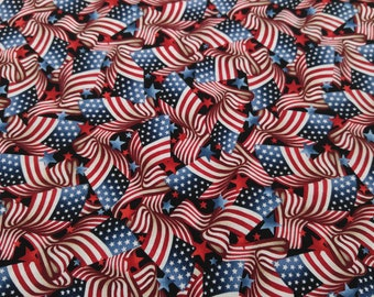 Patriotic, American Flag & Star 100% Premium Cotton Fabric By the Yard, Half Yard and Fat Quarter in Red and Blue, American Muscle by Studio