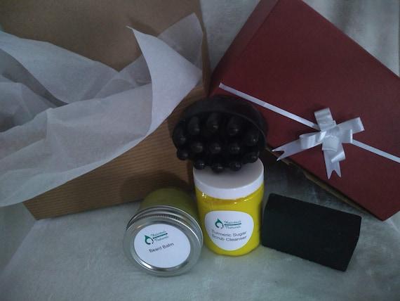 A Gift For Him (Beard Balm, Turmeric Sugar Scrub, Herbal Shampoo Bar, Activated Charcoal and Blackseed Soap Bar)
