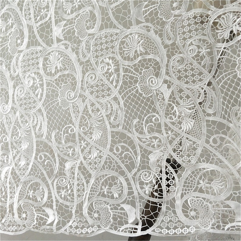 Tulle lace fabric lace dress fabric Guipure lace veil fabric wedding dress lace Vintage embroidered soft bridal lace fabric