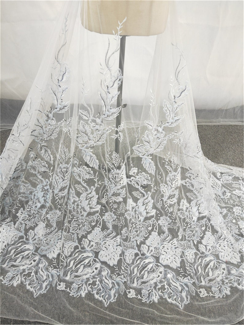 Tulle Lace Sell By The Yard Gorgeous Floral Lace for Prom gownEvening Dress Sequin Lace Fabric Luxury Embroidery lace Fabric