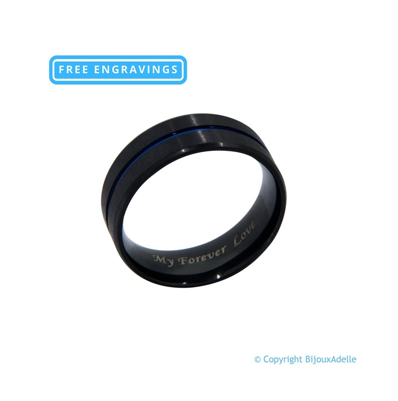 Personalized Tungsten Ring with Blue Inlay and Engraved Phrase Personalized Engagement Ring for Men Wedding Ring Promise Ring For Him M11