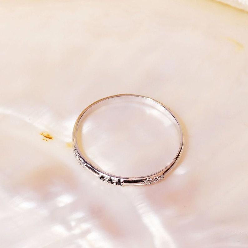 14k Gold Art Deco  Diamond Ring  Wedding Ring  Stackable Ring  Black Diamond Stacking Ring  Solid Gold Ring  Natural Black Diamond Ring