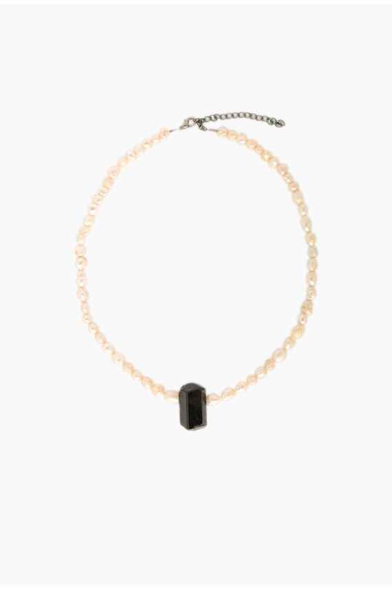 Baroque Freshwater Pearl and Black Tourmaline Neck