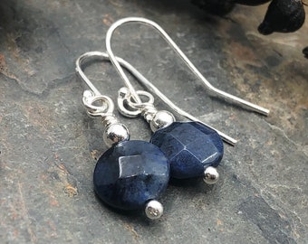 Chunky statement earrings Lapis Lazuli and navy blue denim Jasper stone long dangle earrings Asymmetrical Wabi Sabi Boho Simple wire wrap