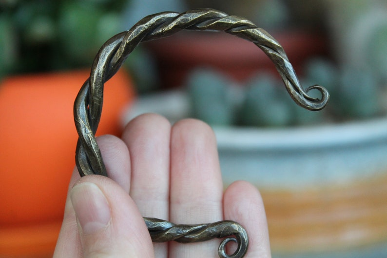 Hand forged brass twisted bracelet