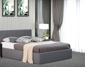 Fabric Gas Lift Ottoman Bed in Grey, Cream or Mocha