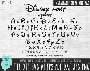 Disney font and numbers ttf and otf Installable on Mac and PC, Disney letters SVG, Disney print and cut for Silhouette-Cricut-Scan N Cut-044