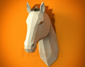 Horse Papercraft Head / Low Poly / 3D papercraft / Animal Trophy / Paper Sculpture / DIY gift Home decor Origami animal PDF Kid craft