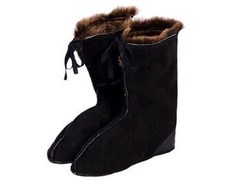 Black Sheepskin Socks / Warm Socks / WInter Socks / Camping Socks / Tracking Socks / Hunting Socks