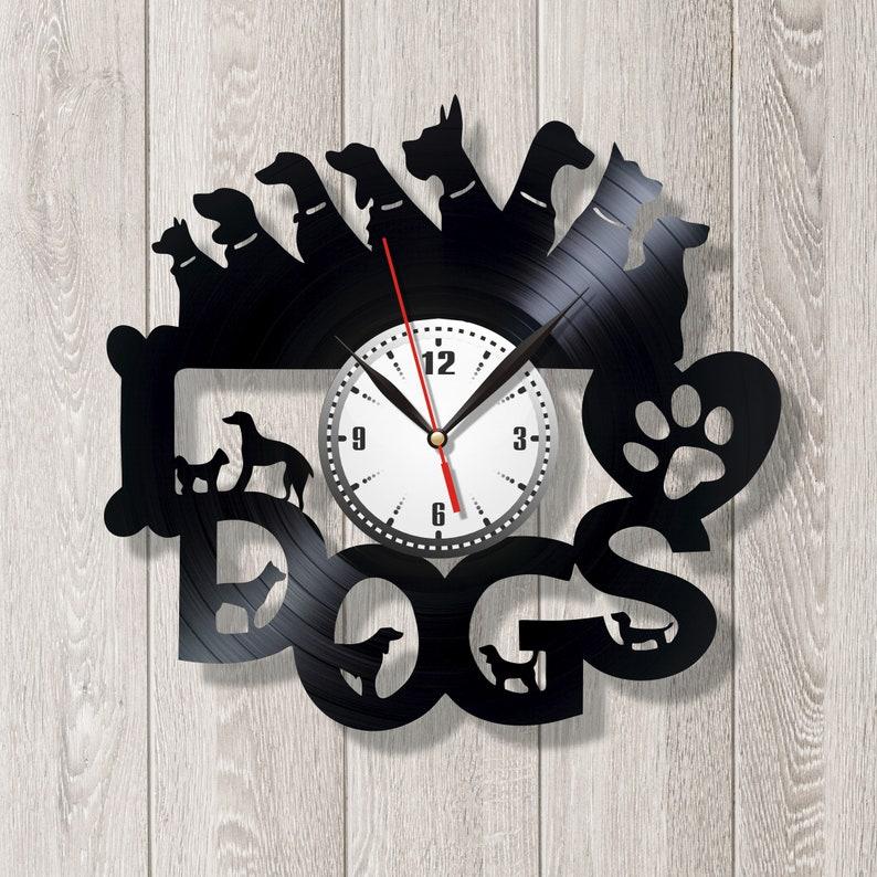 Dogs clock Veterinary clock Retro clock Gift for doctor Animals clock Creative clock Record wall Children room design Record wall clock