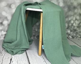 Musselin blanket old green, duvet for the summer, baby blanket
