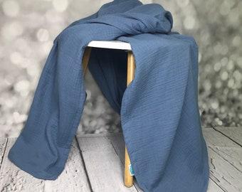 Musselin blanket jeans blue, duvet for summer, baby blanket