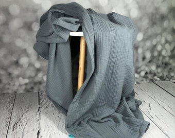Musselin blanket medium gray, duvet for summer, baby blanket