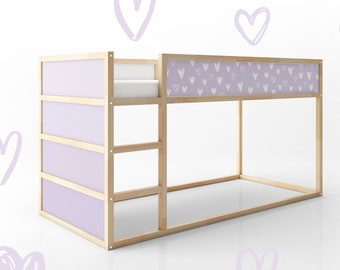 Purple hearts furniture decal for IKEA Kura reversible bed (Kura bed is not included)