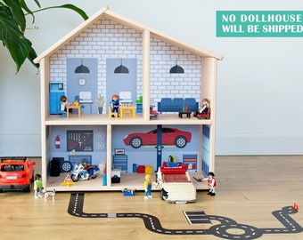 Car repair shop wallpaper decal for IKEA FLISAT dollhouse (dollhouse not included)