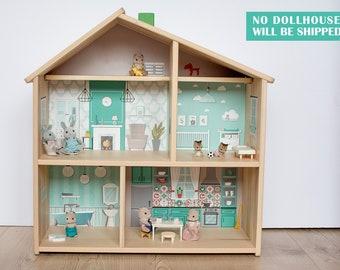 Scandinavian style dollhouse decal for IKEA FLISAT dollhouse (dollhouse is not included)