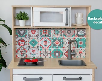 Vintage tiles backsplash decal for IKEA Duktig play kitchen (kitchen NOT included)