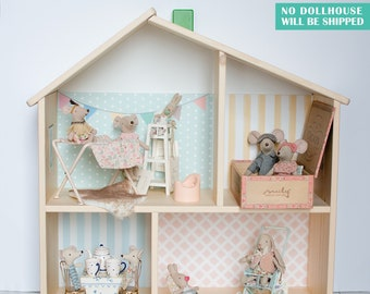 Candy wallpaper decal for IKEA FLISAT dollhouse (IKEA dollhouse not included)