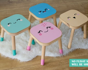 IKEA FLISAT stool decal, smile family, mint, pink, blue, yellow (stool NOT included)