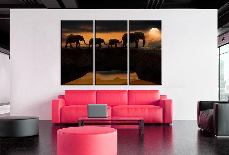 Elephants on Canvas Elephants Canvas Wall Art Elephants Print Canvas Nature Print Night Landscape Art Elephants Poster Art Animal Canvas Art