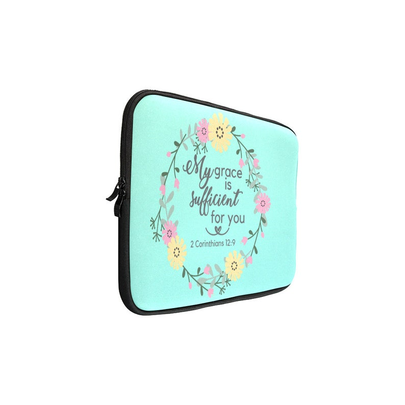 Bible Scripture Verse His Grace is Sufficient Free Shipping Laptop Sleeve Mac Book Tablet Bible Journal Notes Pens Church Organiser
