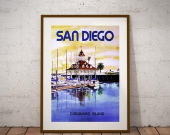Printed in 8x10 12x16 12x18 16x20 18x24 in Hotel Del Coronado Framed San Diego Art Set of 3 Coronado Beach Prints Coronado Bay Bridge
