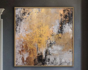 Large Framed Art Sea Horse Painting Abstract Modern Canvas Golden Leaf Gray Wall Art Modern Paintings Oversized Wall Art Kitchen