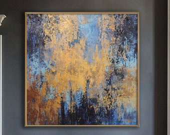 Landscape oil painting blue sea brown scenery canvas abstract canvas painting orange cloud acrylic painting extra large wall art home decor
