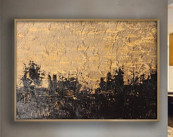Gold Black Abstract Art, Wall Painting, Extra Large Painting,Xl painting, Modern Art, Home Decor, Extra Large Wall Art Abstract, Wall Art
