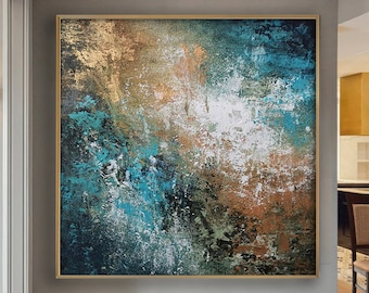 Abstract Painting Extra Large Painting Xl Painting Wall Art Oversized Abstract Painting Black And Blue Abstract Painting