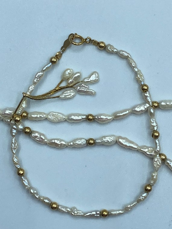Vintage Freshwater Pearl and 14k Gold Bead Set - image 2