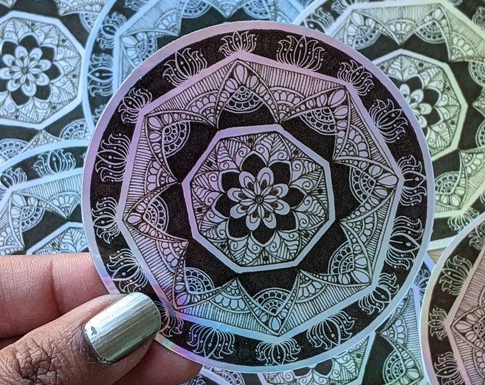 Black and White Mandala sticker, Holographic and waterproof sticker for laptop