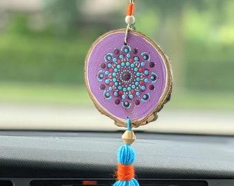Purple Boho Car Charm, Rear View Mirror Hanging with Blue Tassel