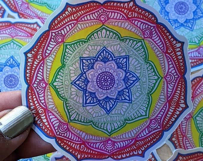 Rainbow Mandala sticker, Pride sticker, Holographic and waterproof