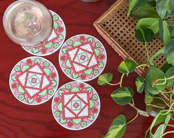 Set of 4 coasters, Teal and Red Mandala Home Decor, Reusable Round Coaster, One of a kind Housewarming gift