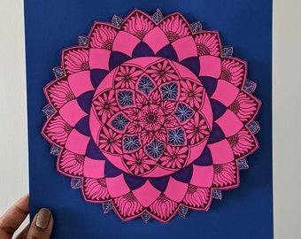 Intricate hand drawn Mandala Art Print- Pink and Purple | Boho Wall Art | Ready to frame Original Art