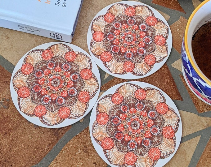 Set of 4 Coasters Round, Drink Coaster Set Terracotta and Brown, Absorbent coaster 4 pc, Mandala coaster, One of a kind gift for him or her