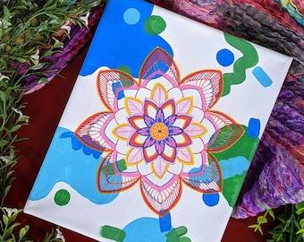 Abstract Floral Art, Boho Mandala Wall Art, Symmetry Art on Canvas 8x10, hand made painting