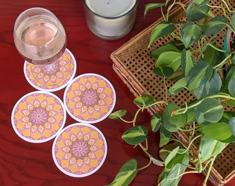 Pink Set of 4 coasters, Reusable Coasters 4 pc, Patio and Dining Room Decor, One of a kind gift for her