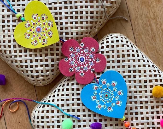 Primary colors wall hanging, Boho style dot mandala decor, Heart shaped, Flower shaped handmade decor
