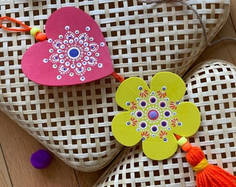 Red and Yellow statement wall hanging using dot mandala, bright and intricately painted home decor