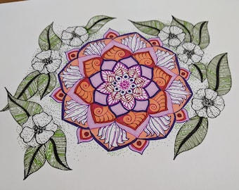 Spring Blooms Mandala art on paper, Floral Home Decor , Ready to frame Wall Art