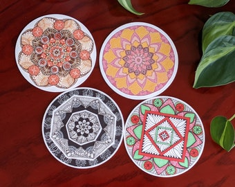 Assorted colors set of 4 coasters, with Hand drawn Mandala art | Pink, Terracotta Brown, Black, Teal Red