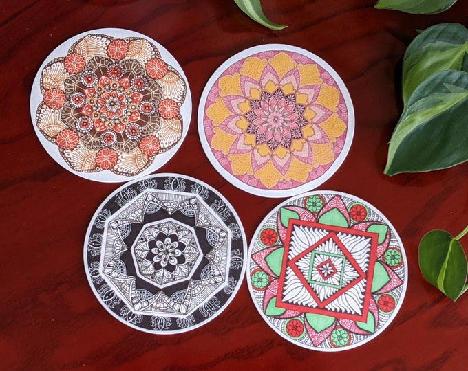 Assorted colors set of 4 coasters, with Hand drawn Mandala art   Pink, Terracotta Brown, Black, Teal Red